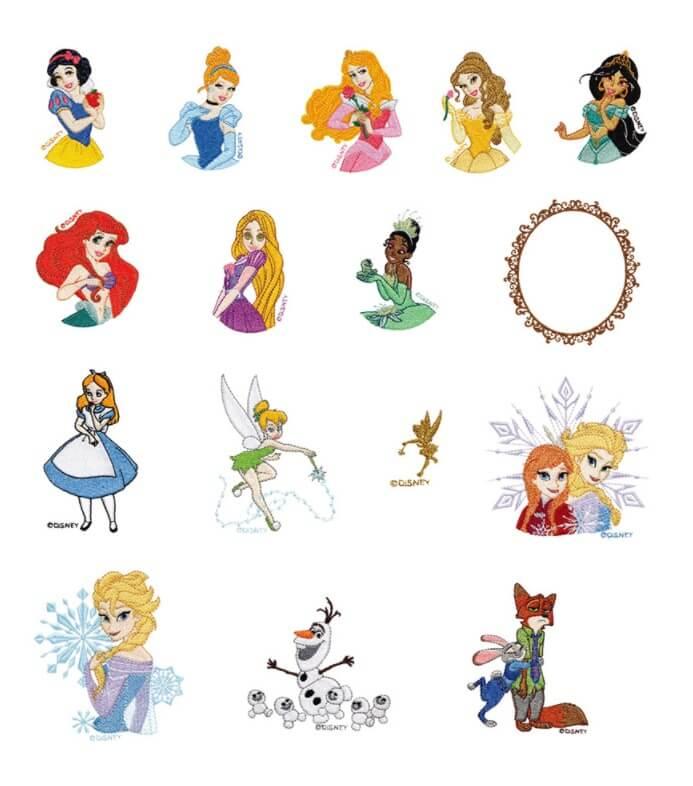 ブラザー fm2000d 内蔵模様 プリンセス&映画のキャラクター 16種類