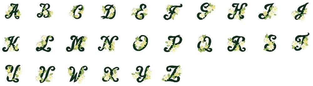 ジャノメ ハイパークラフト850 内蔵模様 花文字デザイン 26種類